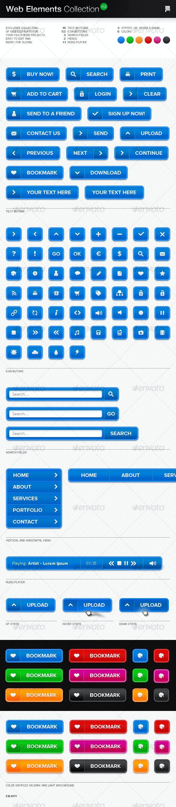 Web Elements Collection - Buttons Web Elements