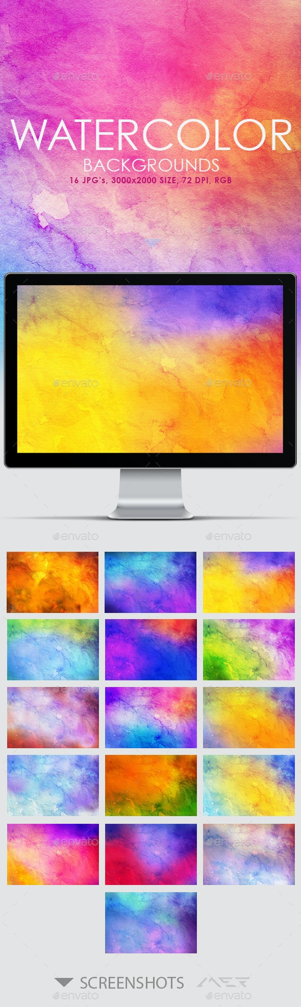 16 Watercolor Backgrounds  - Abstract Backgrounds