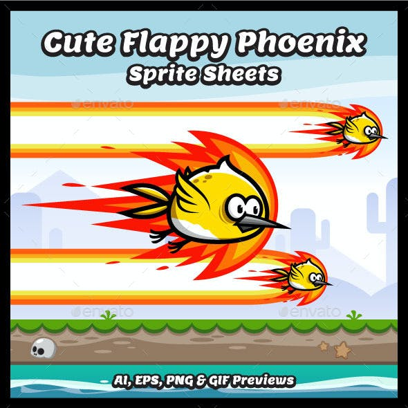 Flappy Cute Phoenix Sprite Sheets Game Character