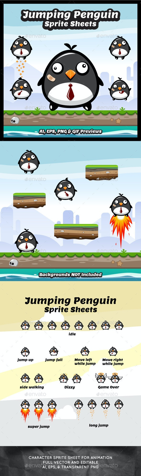 Jumping Penguin Sprite Sheets - Sprites Game Assets