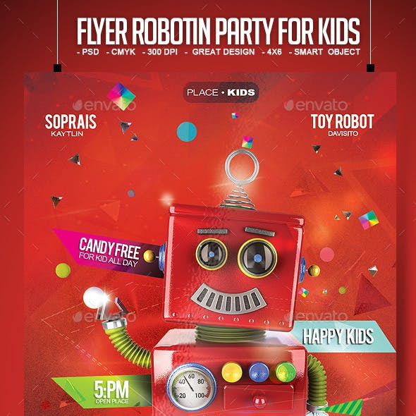 Flyer Robotin Party for Kids
