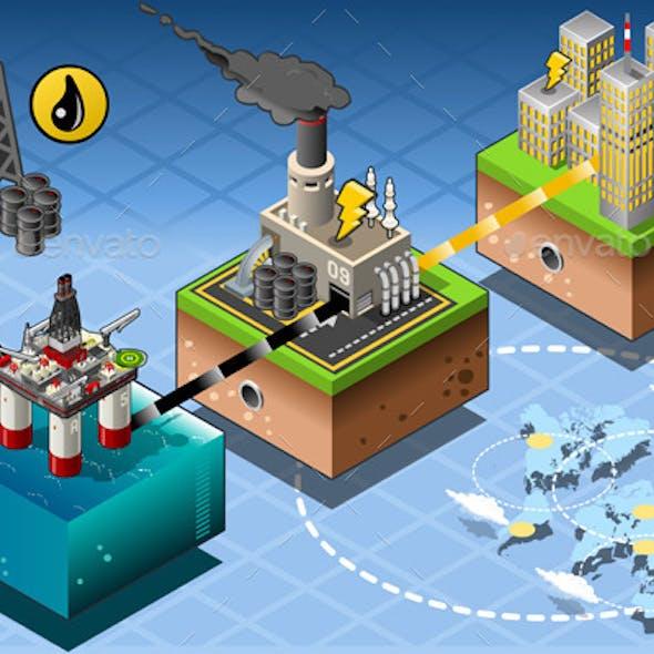 Isometric Infographic Petroleum Rig Energy Diagram