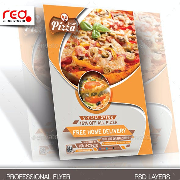 Pizza Shop Flyer & Menu Card Template