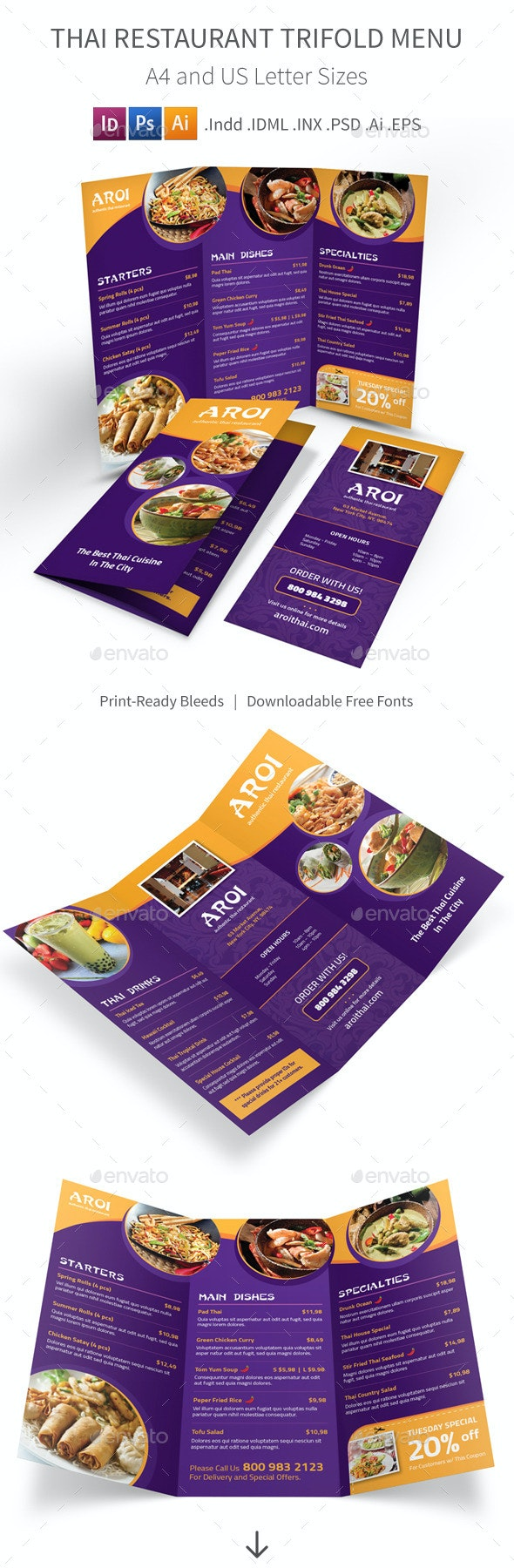 Thai Restaurant Trifold Menu - Food Menus Print Templates