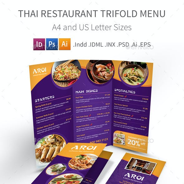 Thai Restaurant Trifold Menu