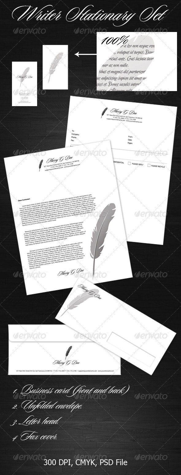 Writer Stationary Set - Stationery Print Templates