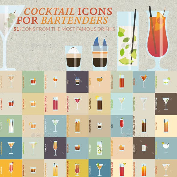 Cocktail Icons for Bartenders