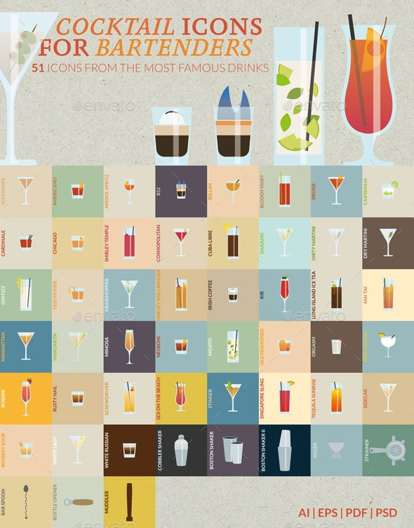Cocktail Icons for Bartenders  - Food Objects