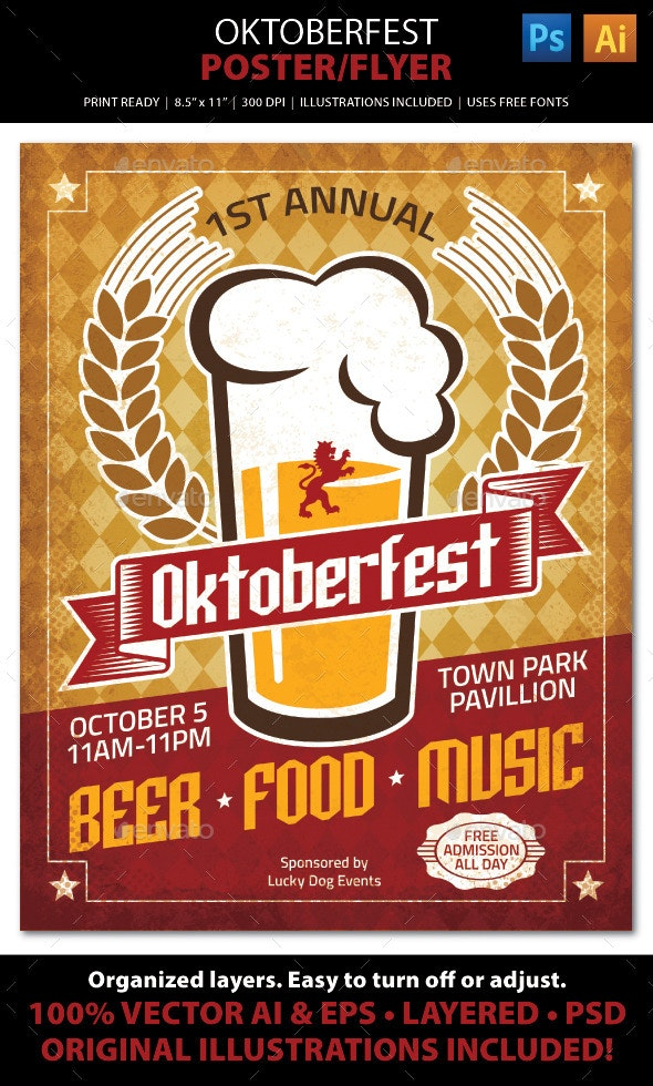 Oktoberfest Poster / Ad / Flyer Template by JulieFelton ...