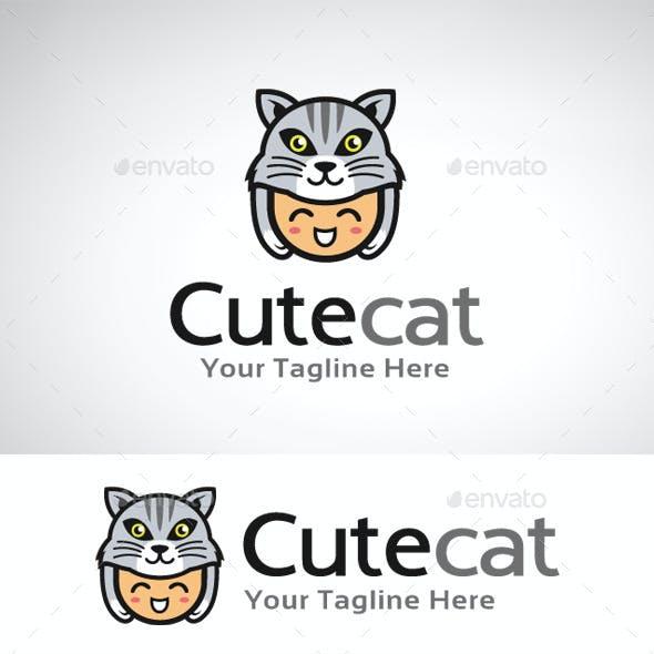 Cute Cat Logo Template
