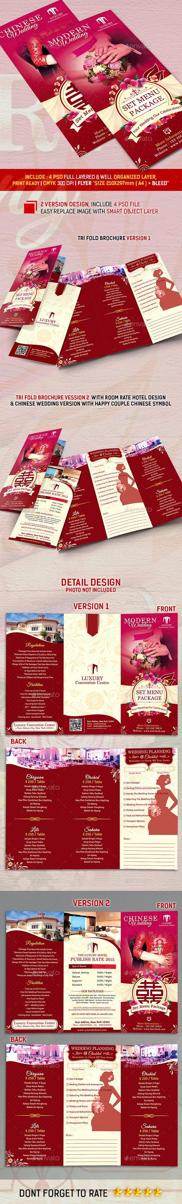 Trifold Wedding Set Menu Package  - Food Menus Print Templates