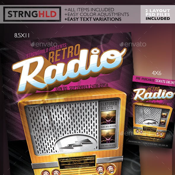 Retro Radio Event Flyer Template