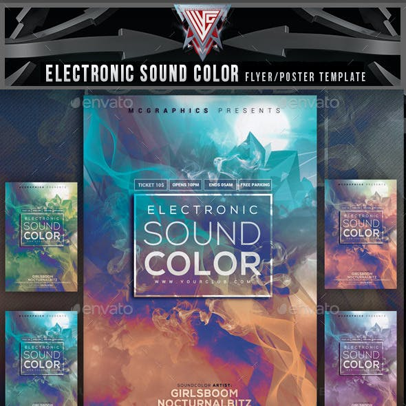 Electronic Sound Color Flyer Template