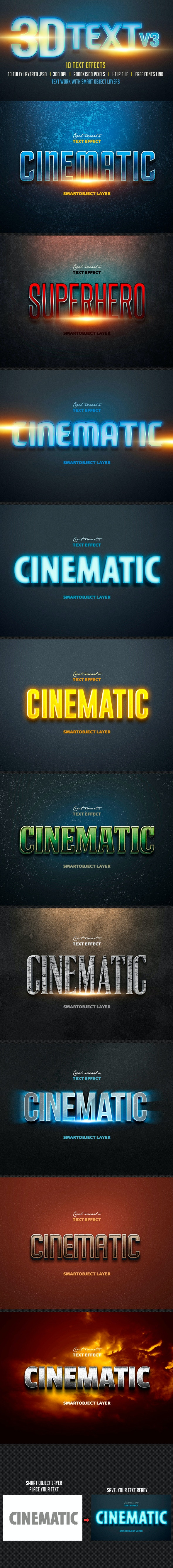 3D Text Col 3 - Text Effects Actions