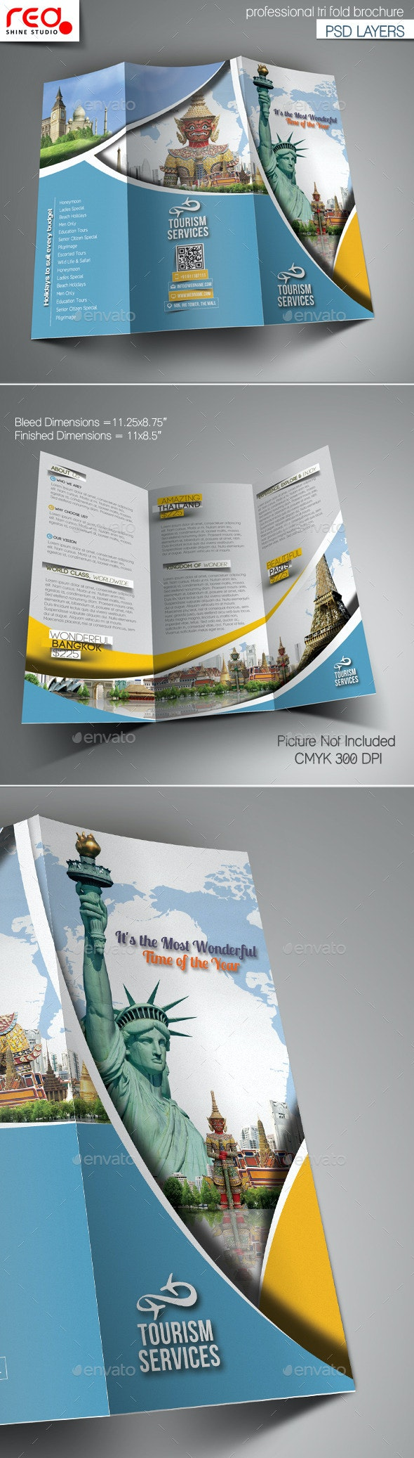 Holiday Travel Trifold Brochure Template  - Corporate Brochures