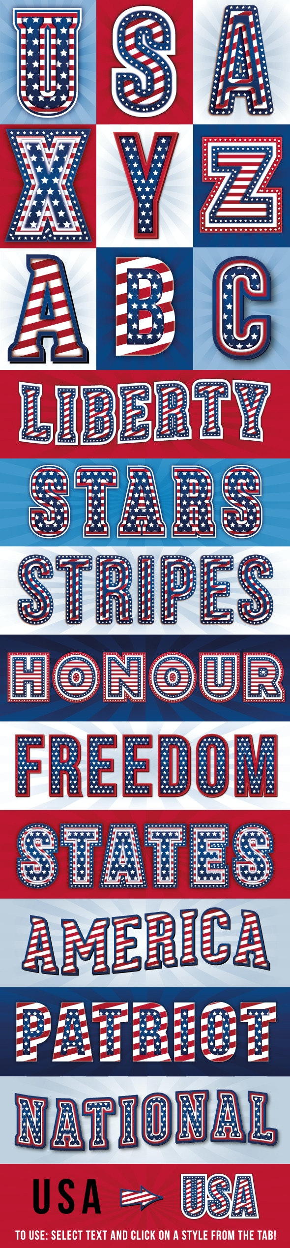 American Flag Styles - Styles Illustrator