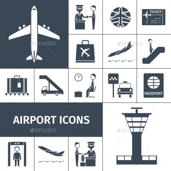Airport Icons Black Set