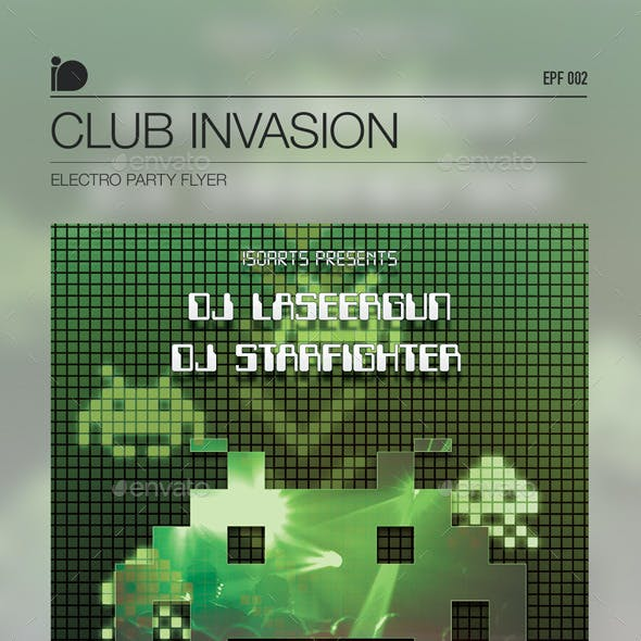 Electro Party Flyer • Club Invaders