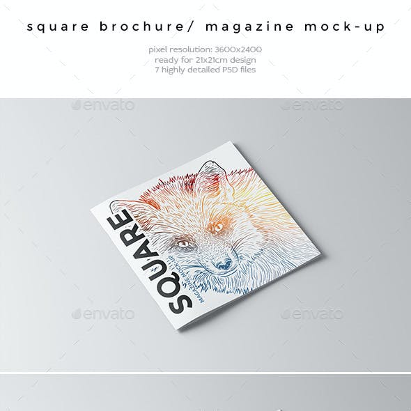 Square Brochure / Magazine Mock-Up