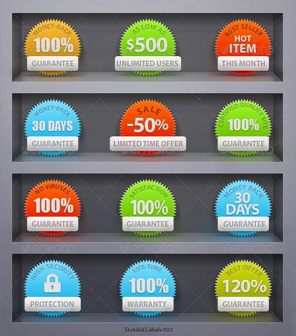 12 Custom Guarantee & Warranty Seal Icons Set - Miscellaneous Web Elements