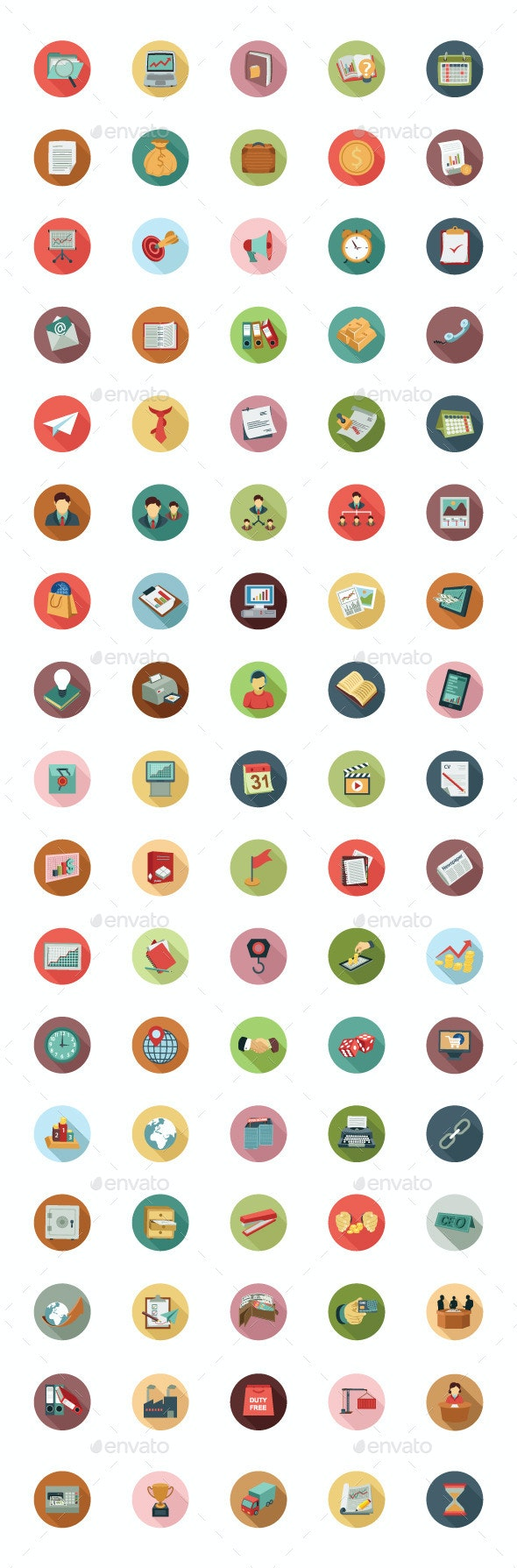 85 Business Colored Flat Icons