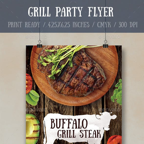 Grill Party Flyer Poster Template