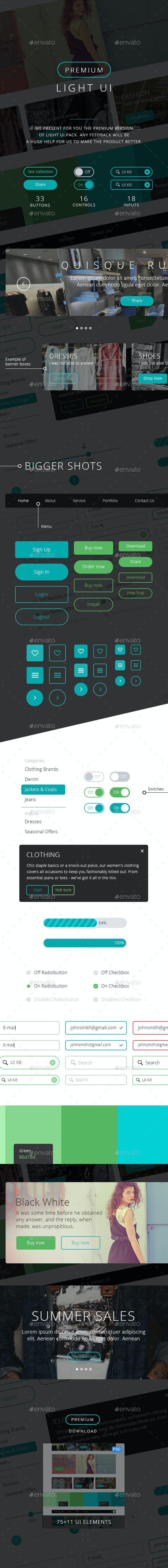 Premium Light UI Kit - User Interfaces Web Elements