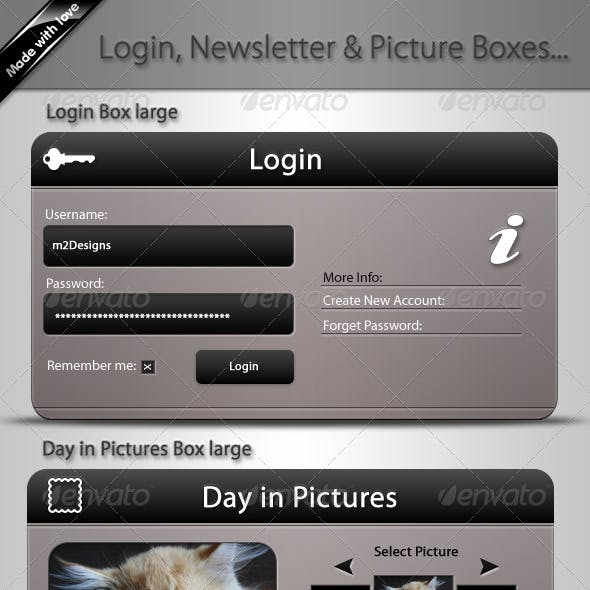 5 Web Boxes, Login, Newsletter & Picture