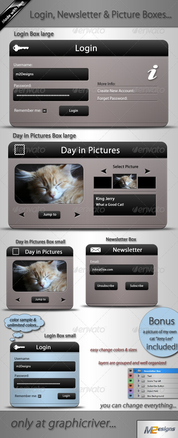 5 Web Boxes, Login, Newsletter & Picture - Forms Web Elements