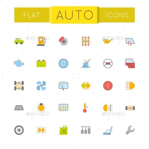 Vector Flat Auto Icons