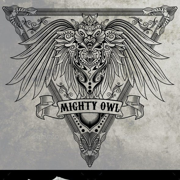 Mighty Owl T-shirt Illustration