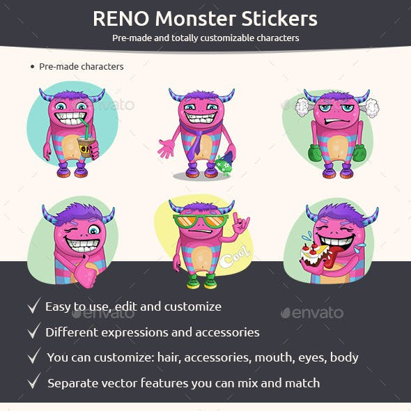 Set of Monster Stickers