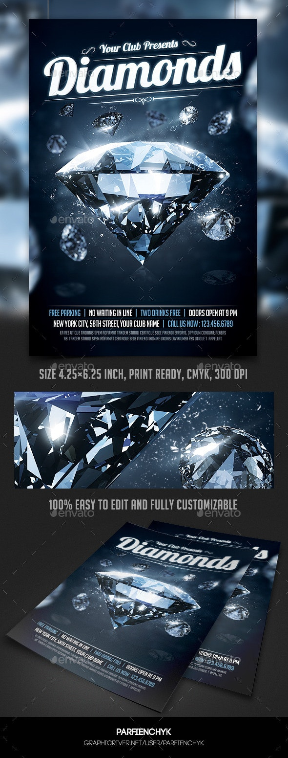 Diamonds Night Party Flyer Template - Clubs & Parties Events
