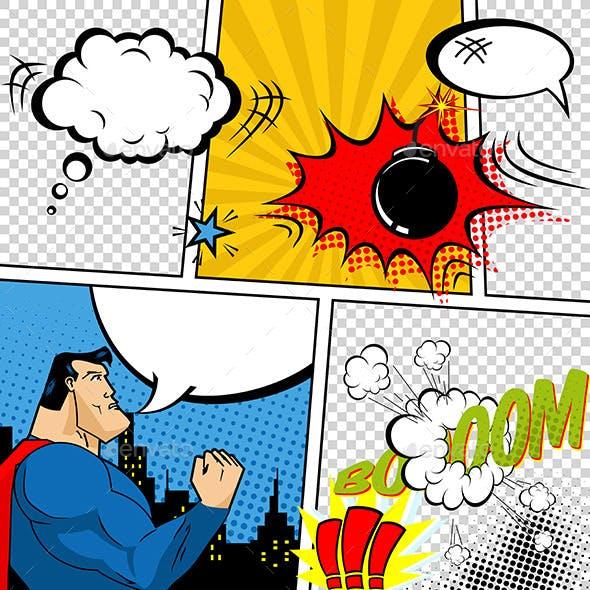 Retro Comic Book Speech Bubbles