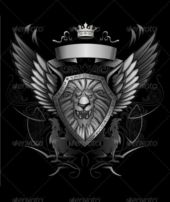 Roaring Lion Winged Shield Insignia - Monsters Characters