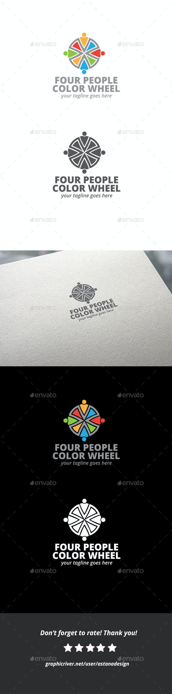 Four People Color Wheel Logo - Objects Logo Templates