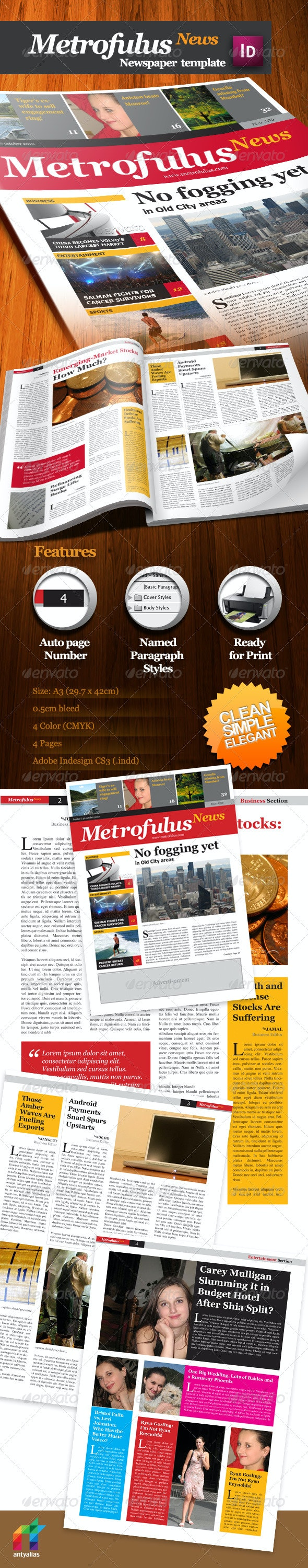 Metrofulus Newspaper - Newsletters Print Templates