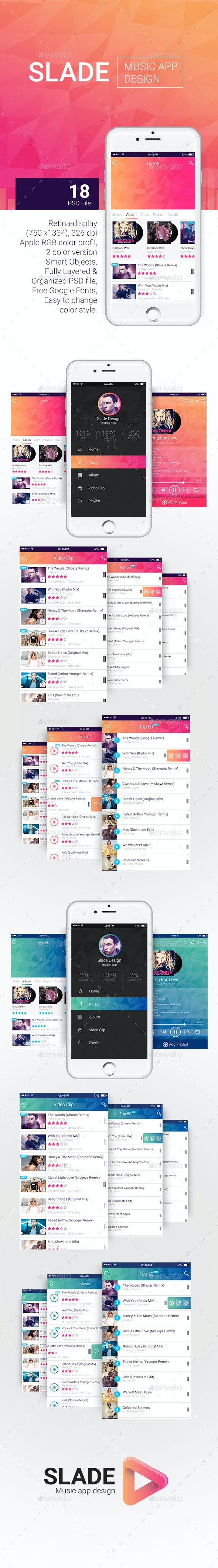 Slade Music App Design - User Interfaces Web Elements