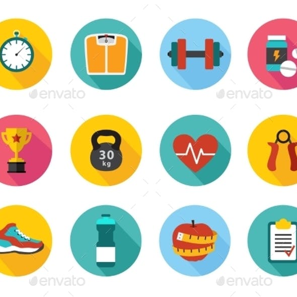 Vector Icons in Flat Style Healthy Sport and Train