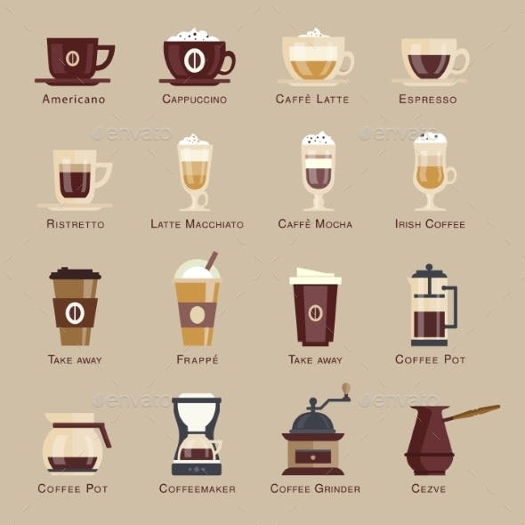 Coffee Vector Icon Set Menu