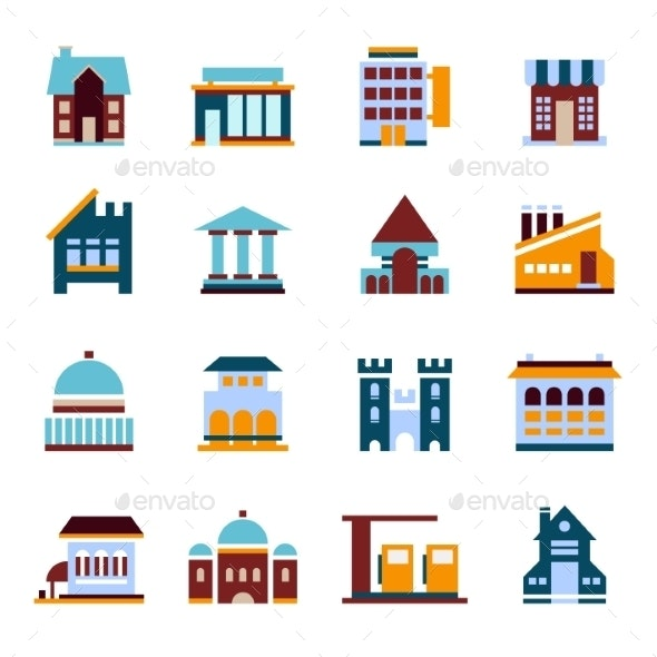 Flat City Icons Vector Buildings