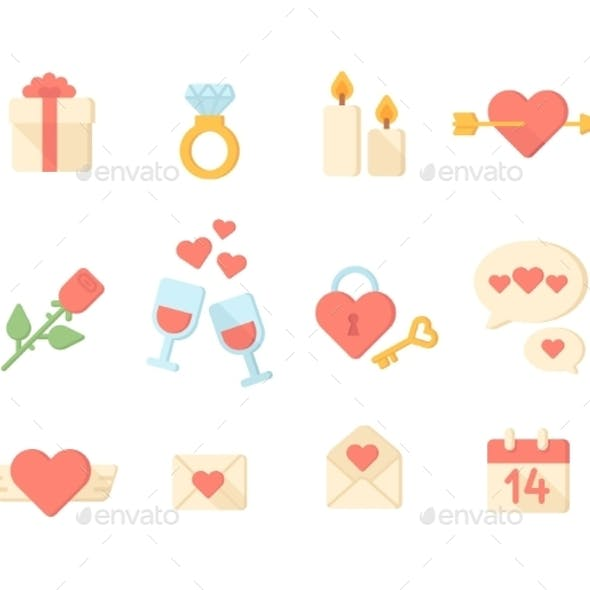 Valentine Day Icons Elements Collection. Vector Il