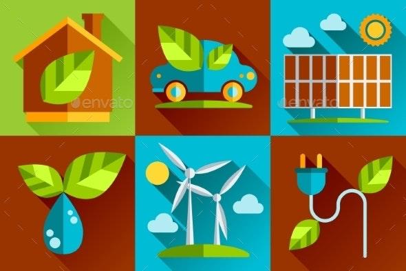 Modern Vector Flat Design Conceptual Ecological Ic