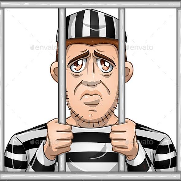 Sad Prisoner Behind Bars