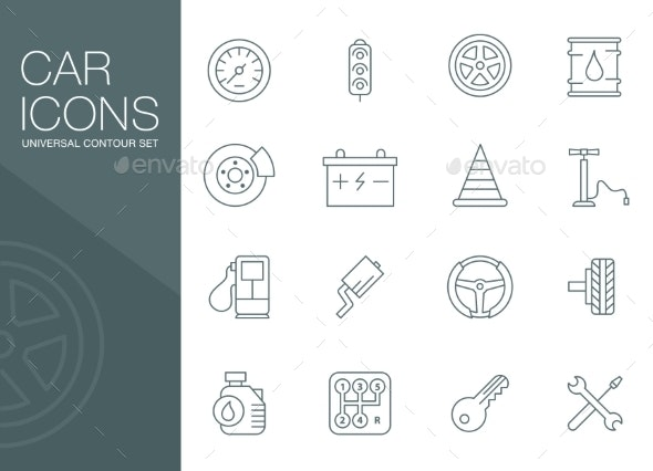 Auto Mechanic Related Icons Silhouettes - Miscellaneous Icons