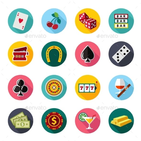Colorful Flat Vector Icons Set