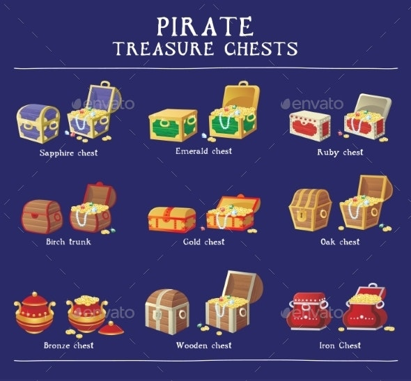 Chest Set for Game Interface - Miscellaneous Icons