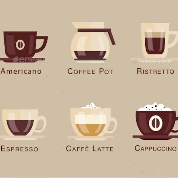 Coffee Vector Icon Set Menu Beverages Types