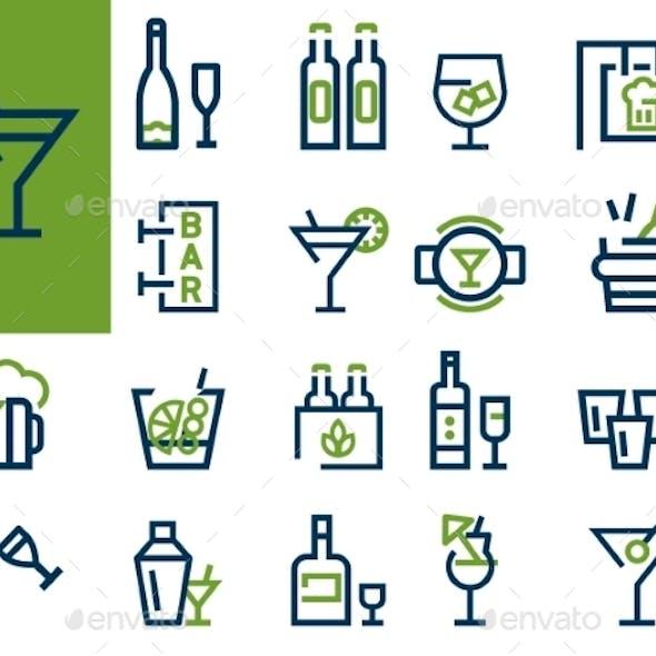 Drink Alcohol Beverage Icons Set