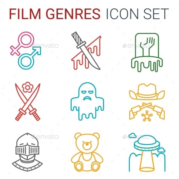 Flat Line Icons Set of Professional Film Productio